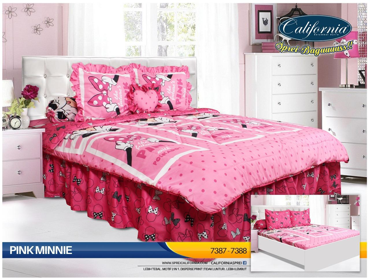 Bed Cover CALIFORNIA motif PINK MINNIE King Size 180 x 200 cm
