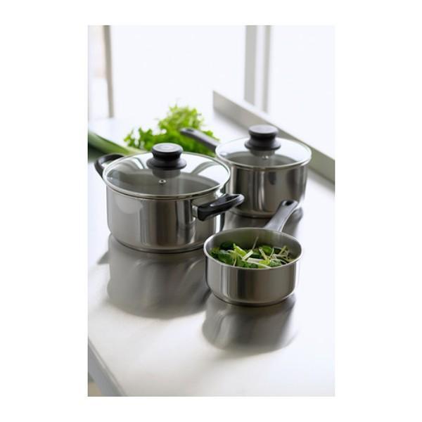 IKEA Set Unit Panci Peralatan Masak Baja Tebal Tahan Karat - 5 piece Cookware Set