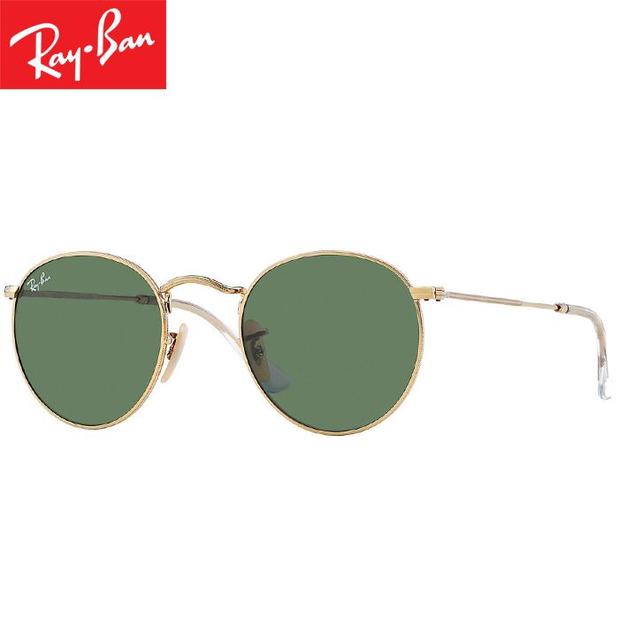 Rayban RB3447 001 50-21 Round Metal Kacamata Pria Wanita Eye Wear Men Women Sunglasses Gold Frame Green Classic Lens