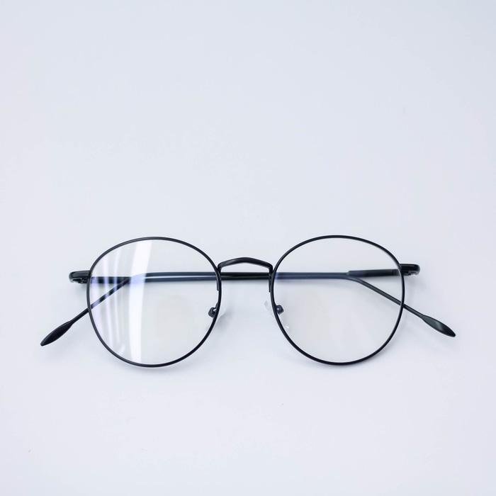 Frame Kacamata Minus Besi H 6370 Oval Pria Wanita Full Hitam b24b04042f