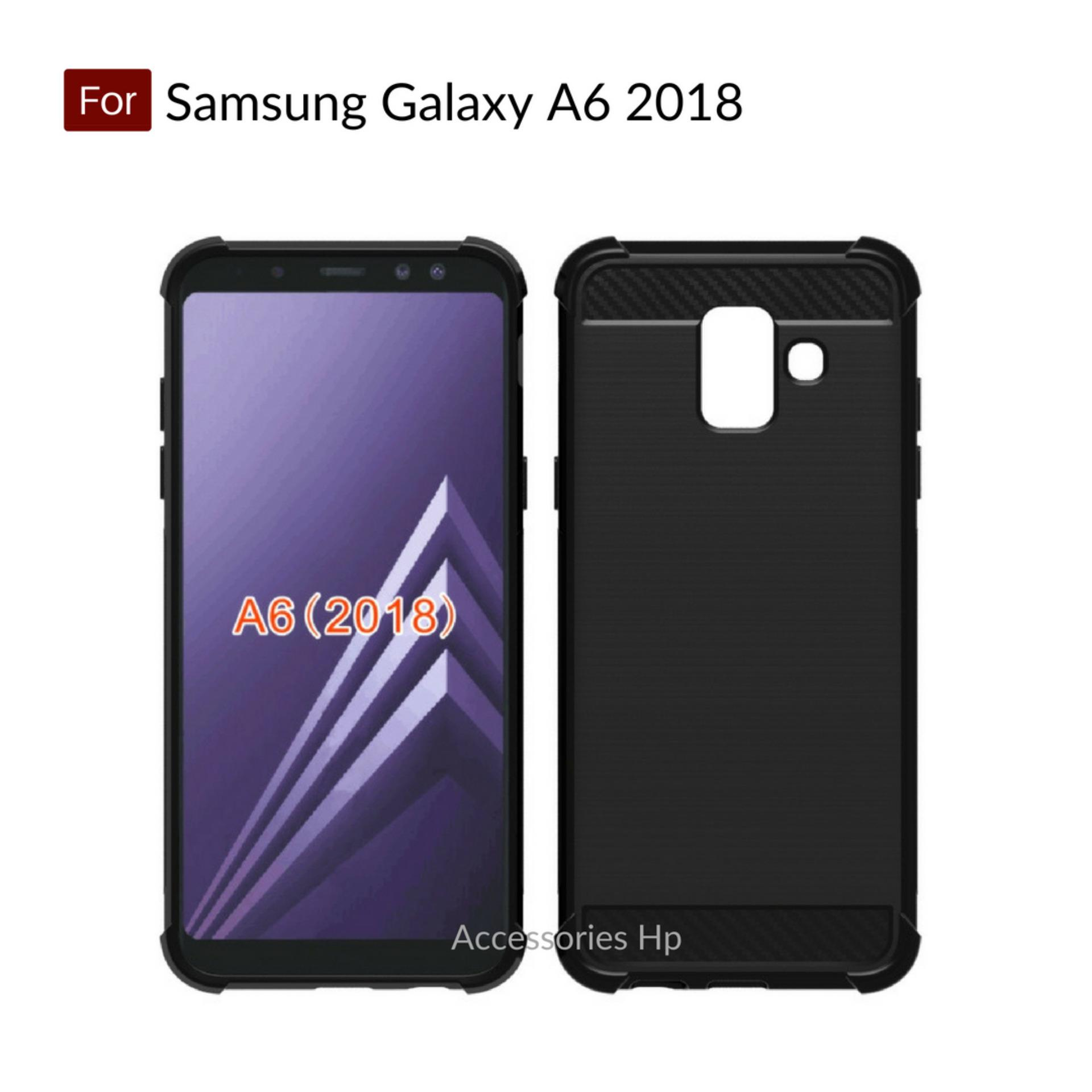 Accessories Hp Brushed Carbon Crack Case Samsung Galaxy A6 2018 ( 5.6 inch ) - Black