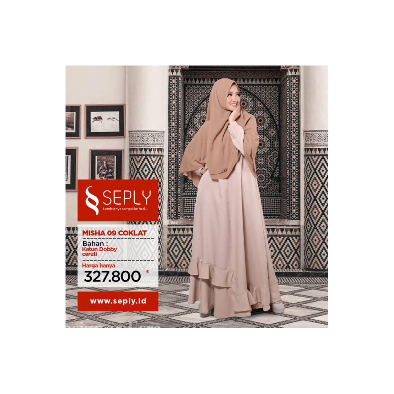 Gamis Set Syar'i Muslimah Modern Terbaru SEPLY Fashion MISHA 09 XL - Cokelat Muda, XL