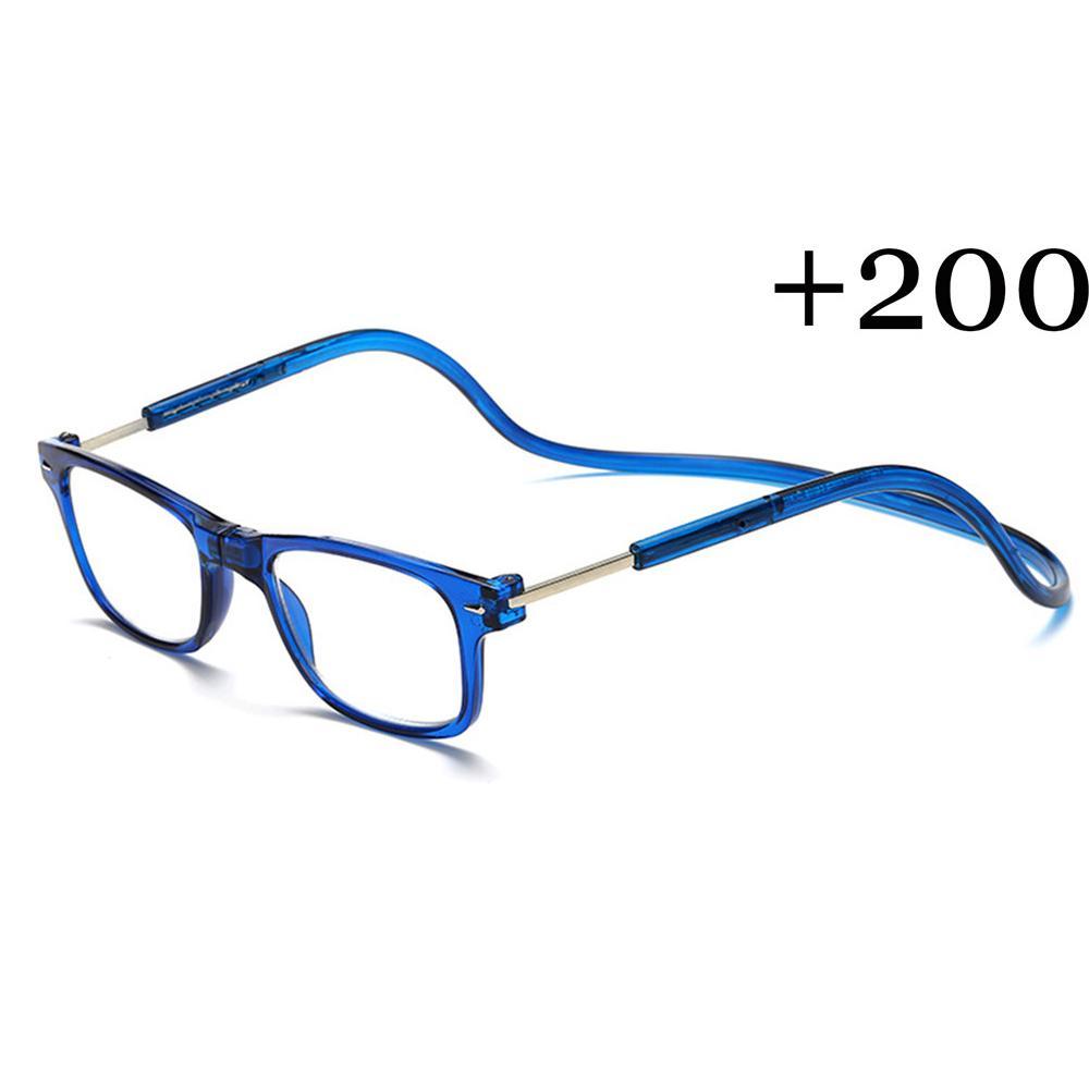 Baru Magnetic Kacamata Baca Lipat Kacamata untuk Membaca + 2.00 Leher Hang  Unisex Biru-Intl 418de80139