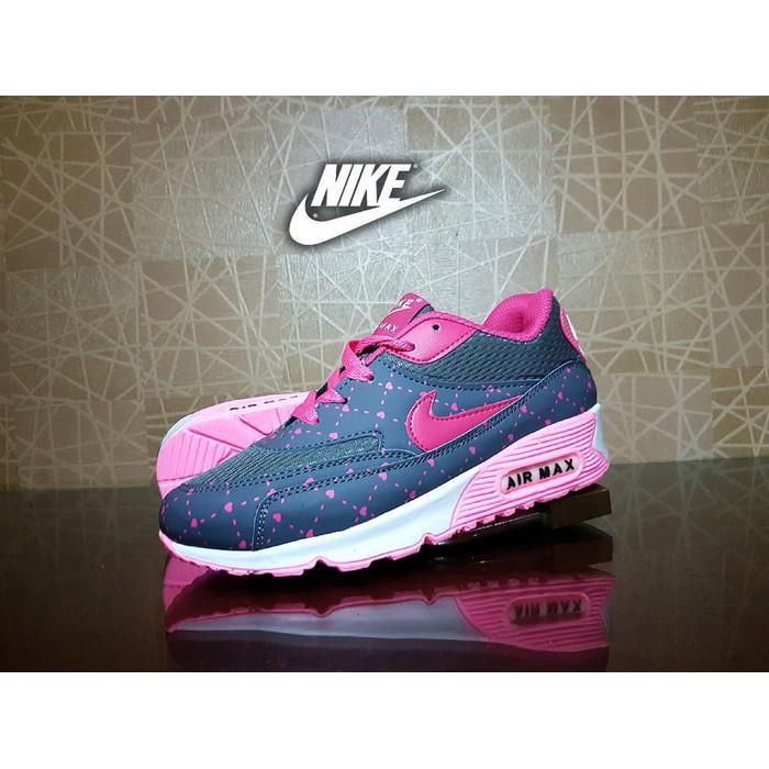 Promo Sepatu Sport Nike Airmax T90 Abu Pink / Casual Gym Senam Wanita Gratis Ongkir