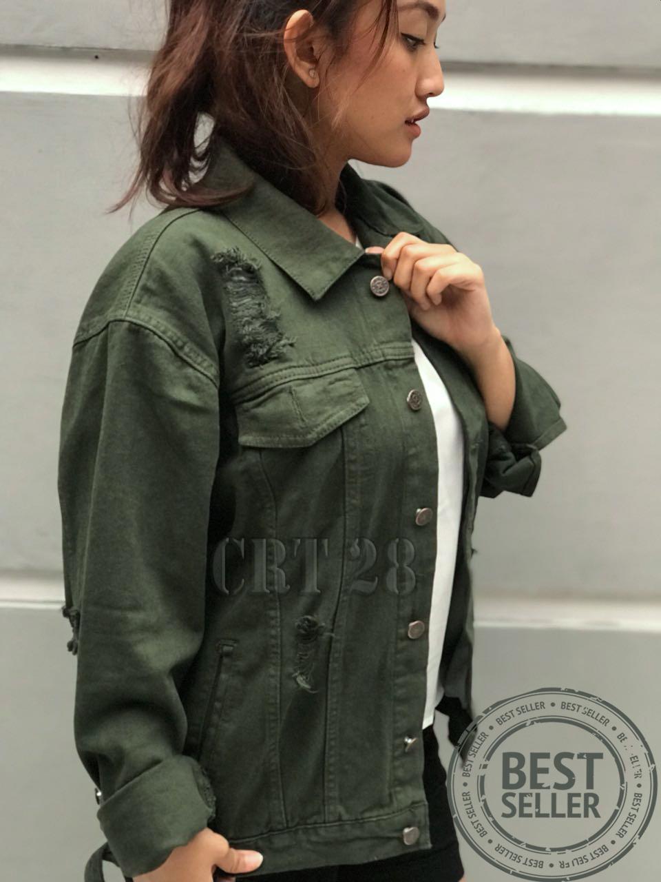 Jaket Jeans Denim Wanita Oversize - Hijau Army Motif Sobek