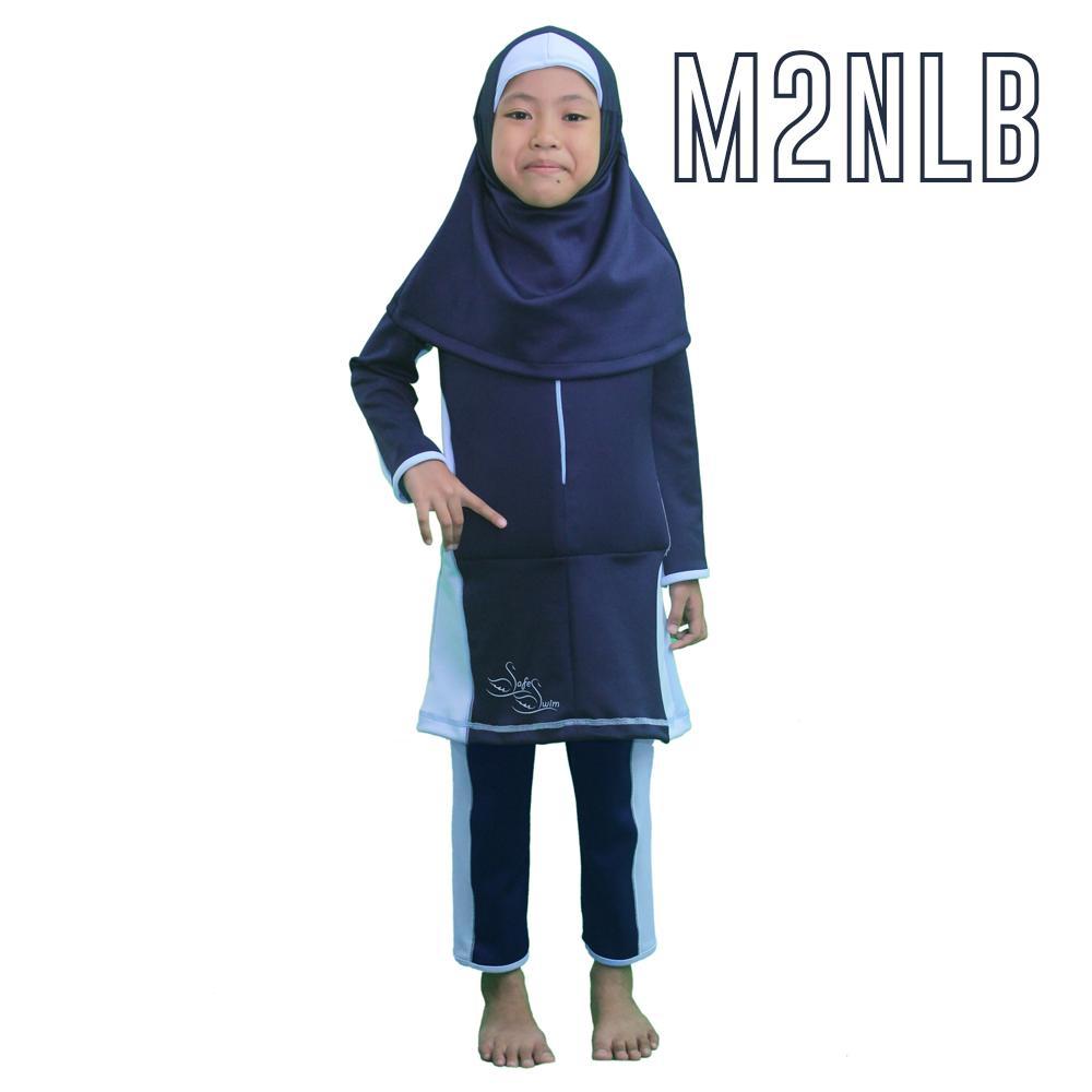Baju Renang Muslimah Apung Safeswim M2 Hijab Navy Light Blue