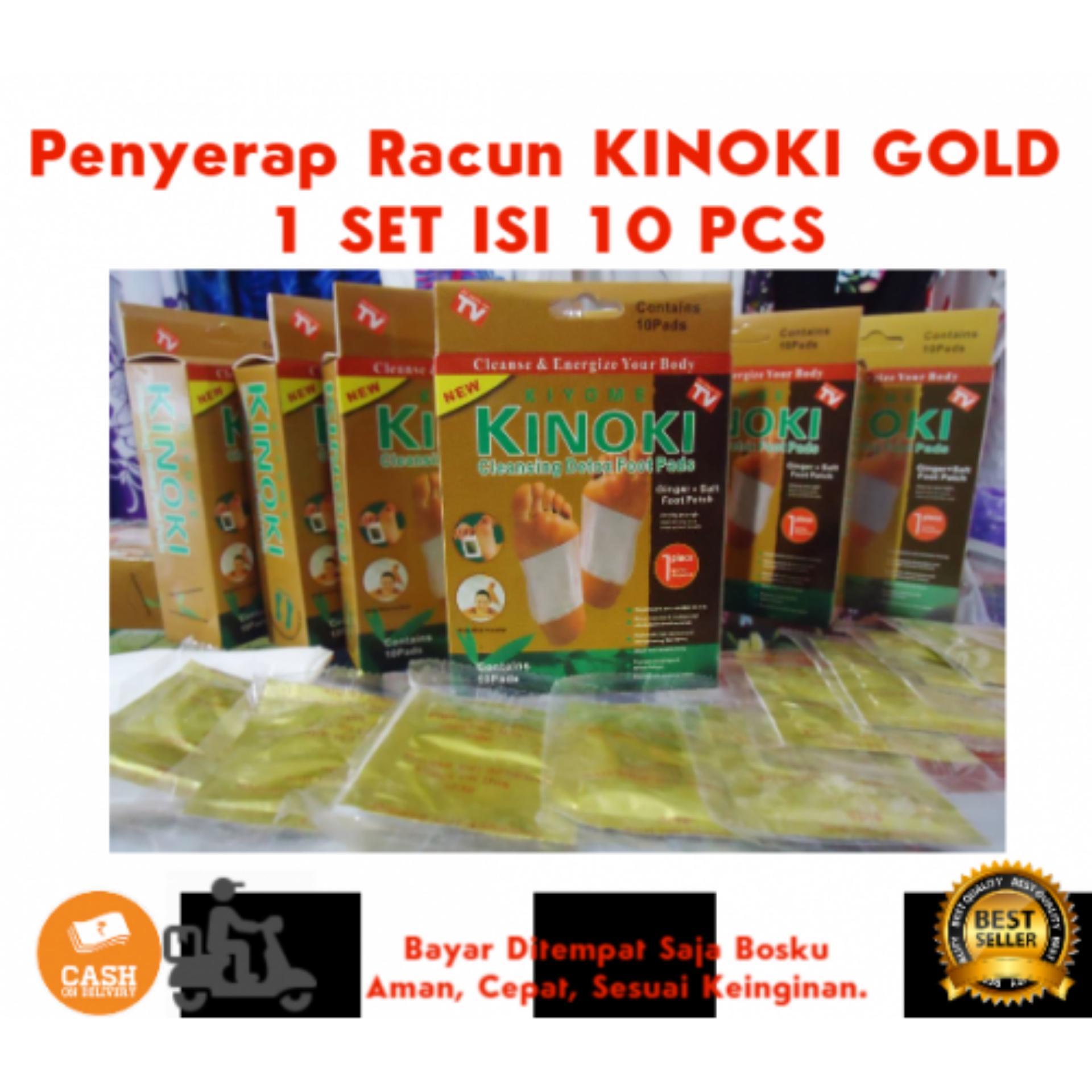 10 Pcs Kinoki Gold Penyerap Kotoran Dan Racun Tubuh Plester Detok Bambo Bamboo Kaki Isi 2bh Hybrid Tech New Sachet