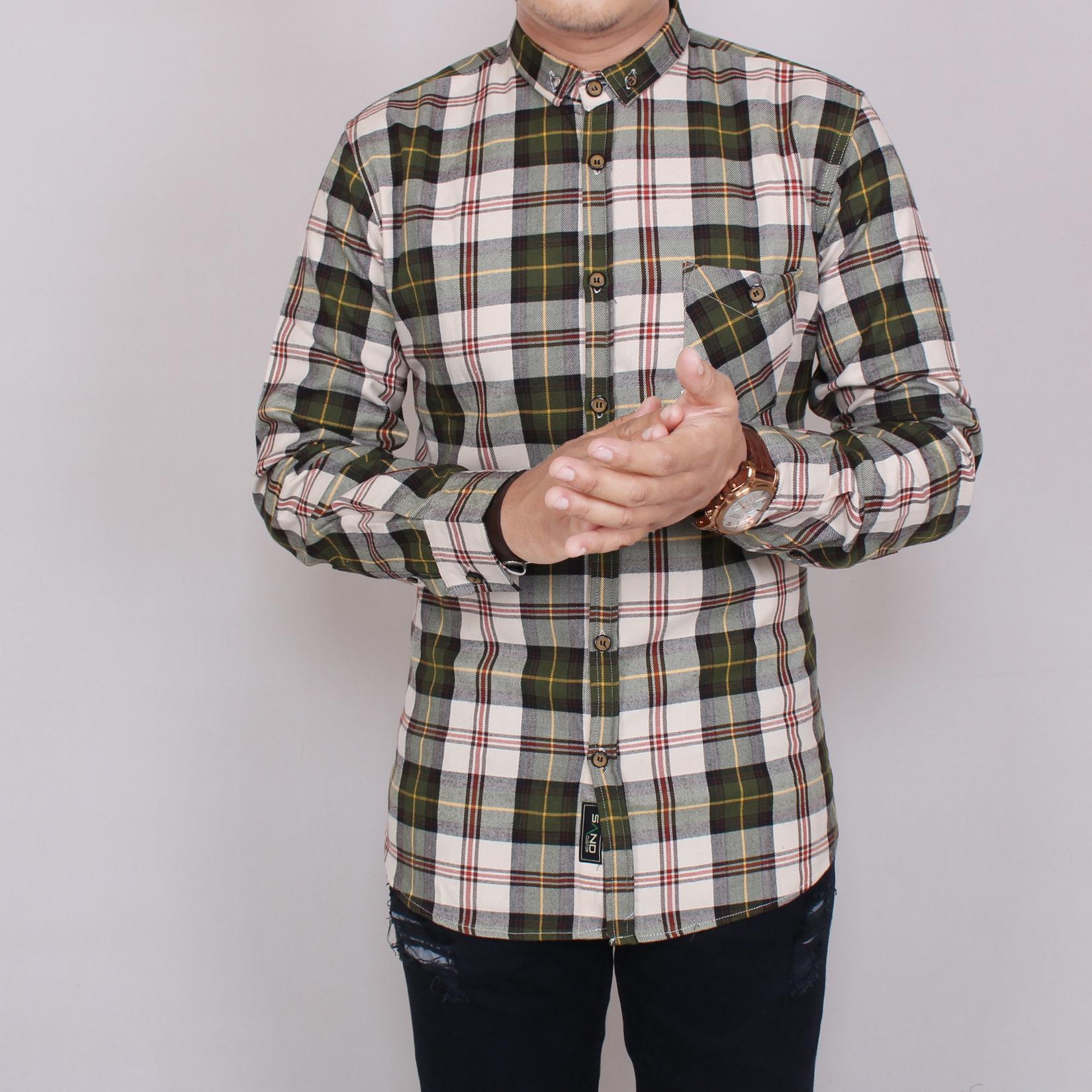 Zoeystore 5851 Kemeja Flanel Pria Lengan Pendek Exclusive Baju Kemeja Flannel Cowok Kerja Kantoran Formal Kemeja Distro Putih Kotak Hijau Lumut