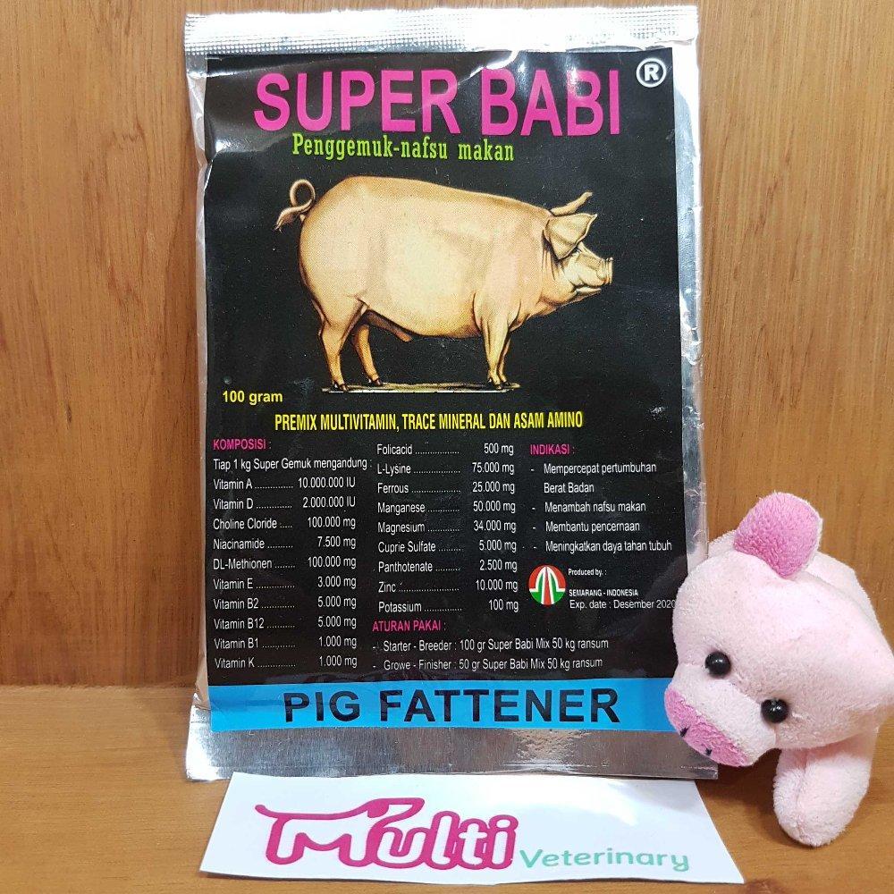 Vitamin Penggemuk Penambah Nafsu Makan Babi Super Babi Bubuk 100gr - Multi Vitamin Mineral Asam Amino By Multi Veterinary.
