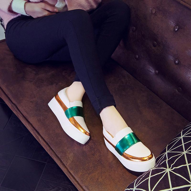 Fan Bing Bing Bersama Gaya Happy Sepatu Santai Adalah Perempuan 2018 Musim Semi Musim Panas Menempatkan Bersama-sama untuk Meningkatkan Pemalas 'S sepatu Tebal Bawah Baba dari Gao dan Xie Di Dalam Warna Satu Kaki Deng-Intl