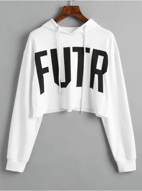 MichelleStore Sweater Wanita Crop Hoodie Tali Motif F U T R - Putih