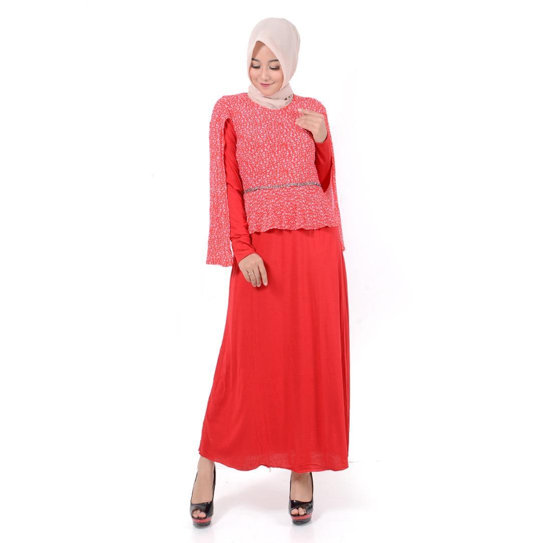 Jfashion Long Dress Gamis Maxi tangan Panjang Kombinasi -  Raidah