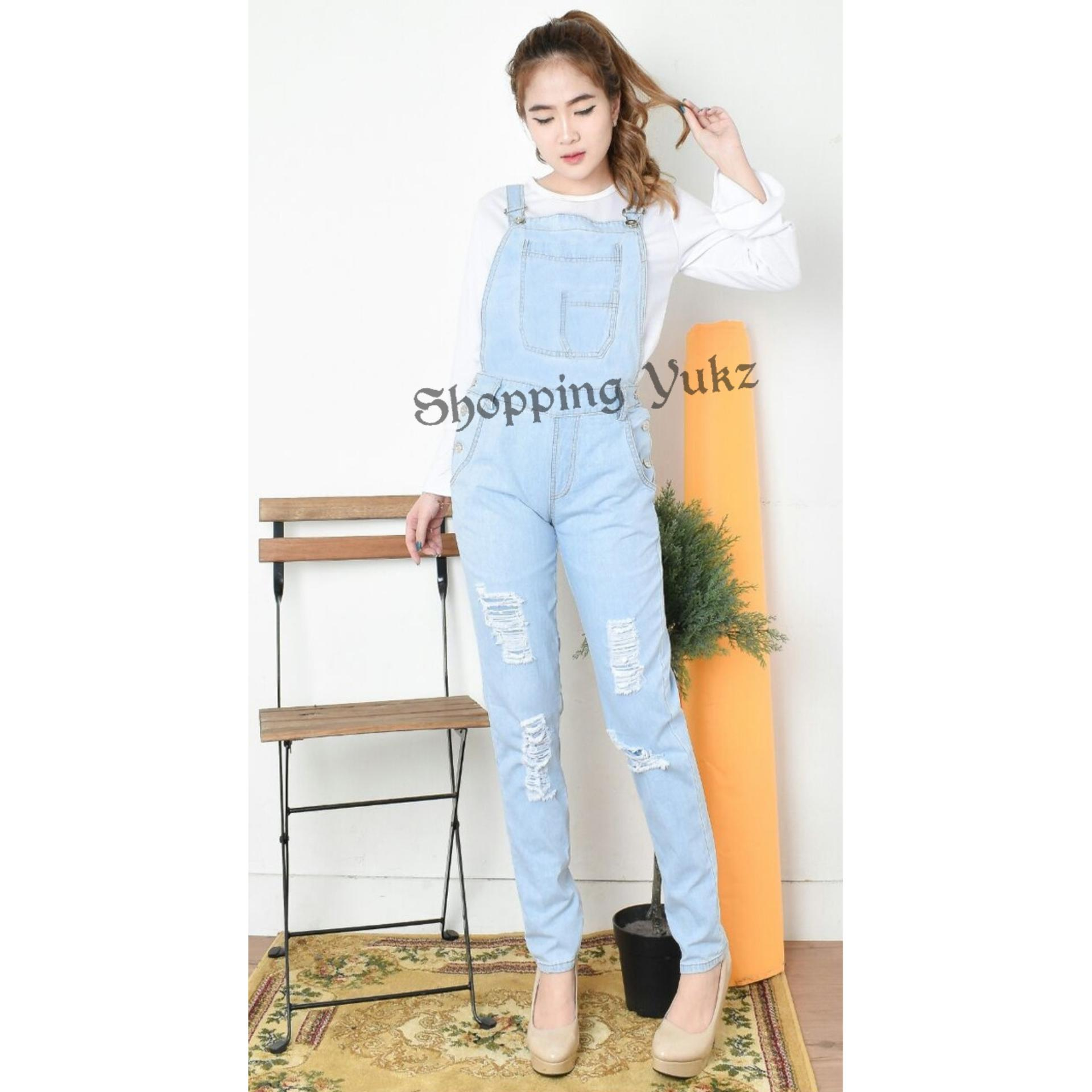 Shopping Yukz Overall Jumpsuit Jeans Denim  Wanita JEAN ( Tanpa Inner ) /Baju Kodok Jeans /Jumpsuit Jeans/ Ripped Jeans/Jumpsuit Denim Wanita/Jumpsuit Remaja/Jumpsuit Murah/Jumpsuit Terusan/Jumpsuit Panjang/Jumsuit Wanita/Jumsuit Denim