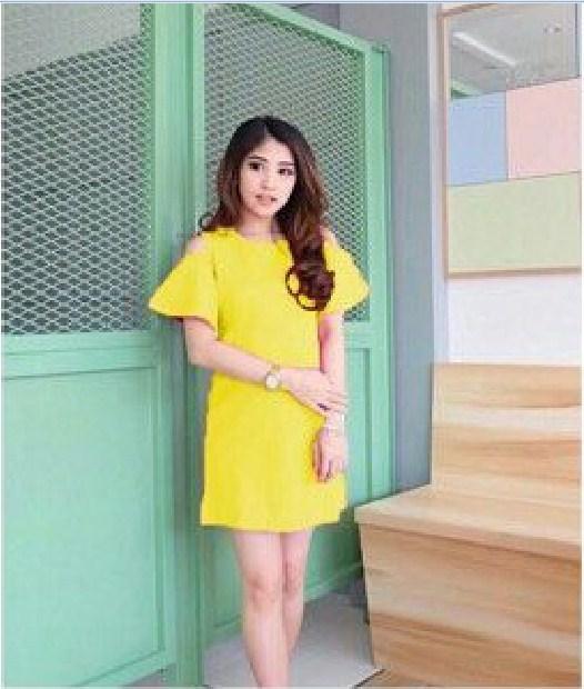 SunGold Dress Monila - Wedges Scuba - Lengan Pendek Baju Wanita Lengan Pendek Baju Dress Wanita