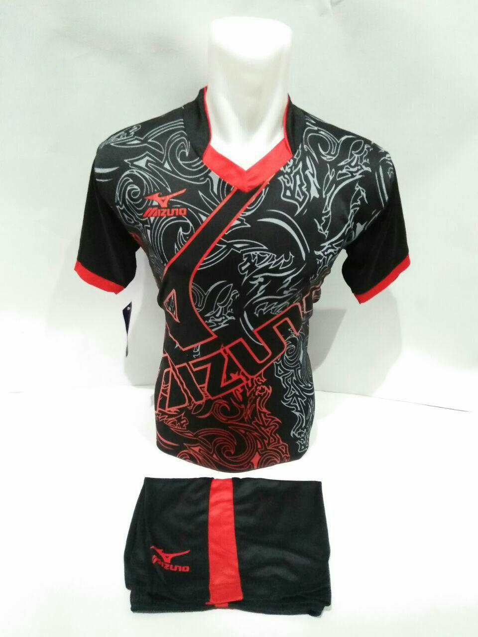 Baju Kaos Jersey Olahraga Setelan Bola Futsal Volly Mz 16 Hitam Merah