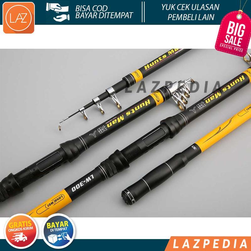 Laz COD - Hunts Man Joran Pancing Carbon Fiber Telescopic Baitcasting Yang Stabil dan Kuat 2.1 M / Hitam Kuning - Lazpedia A465