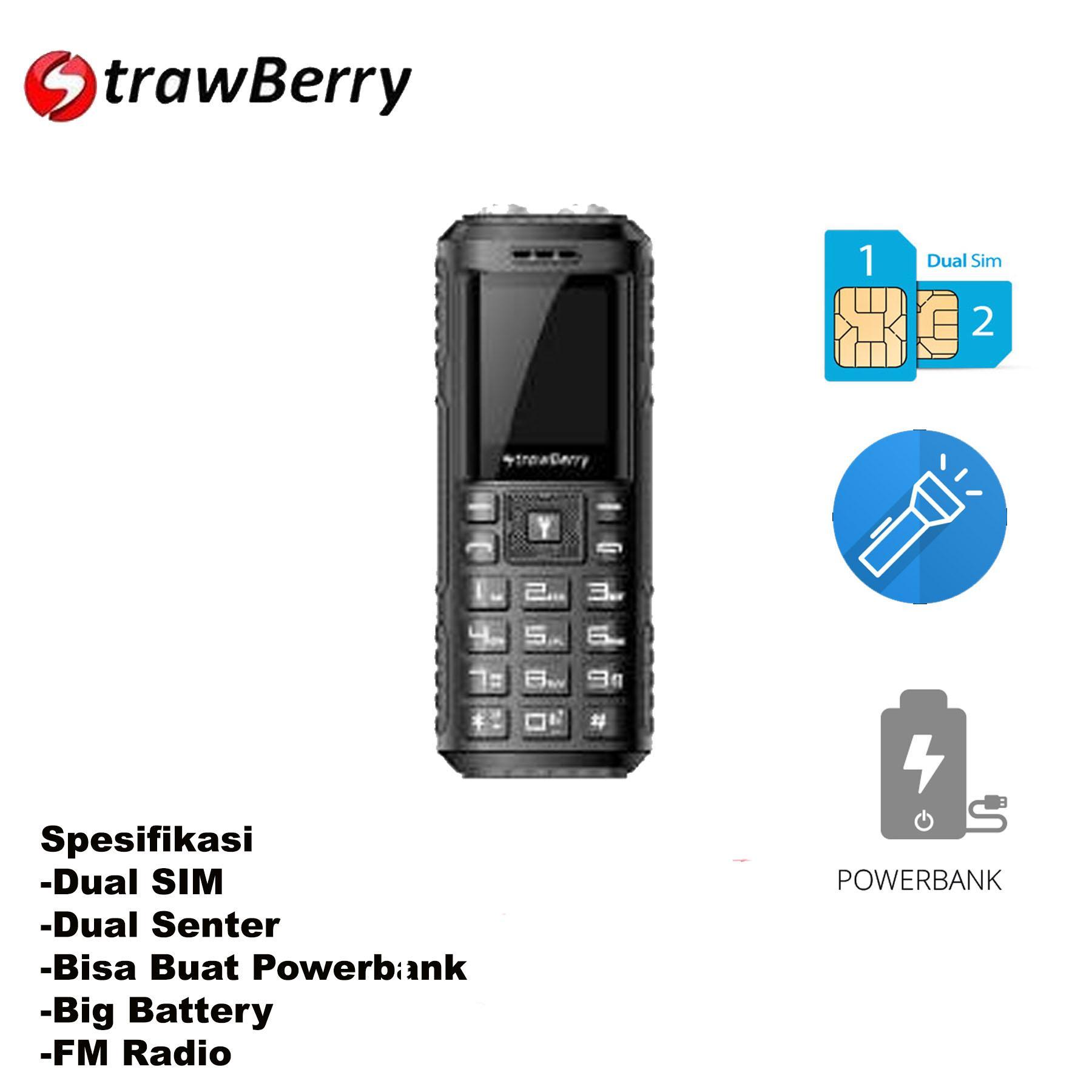 Strawberry ST188 2 Senter Dual SIM Powerbank Camera