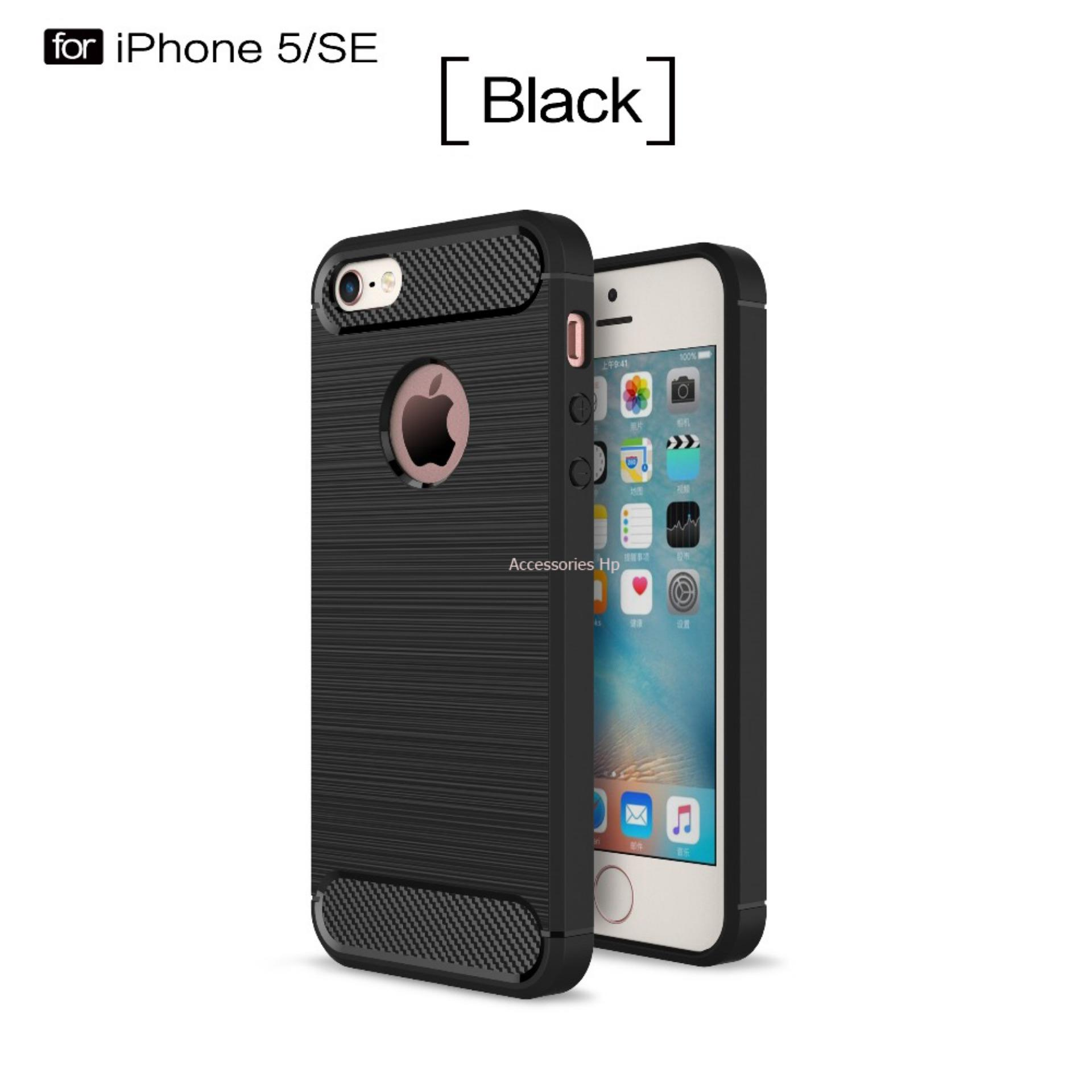 Accessories HP Premium Quality Carbon Shockproof Hybrid Case for iPhone 5 / 5s / SE - Black