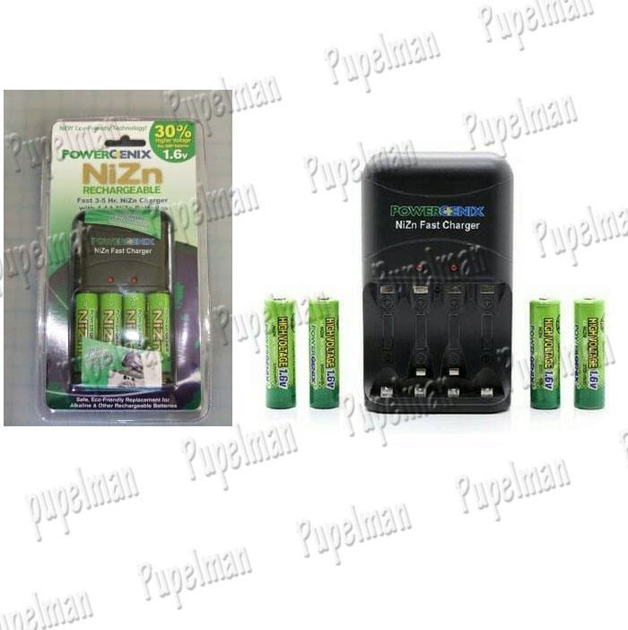 Paket 4pcs 2500mAh Battery AA A2 + PowerGenix NiZn Fast Charger 1,6V Battery Baterai