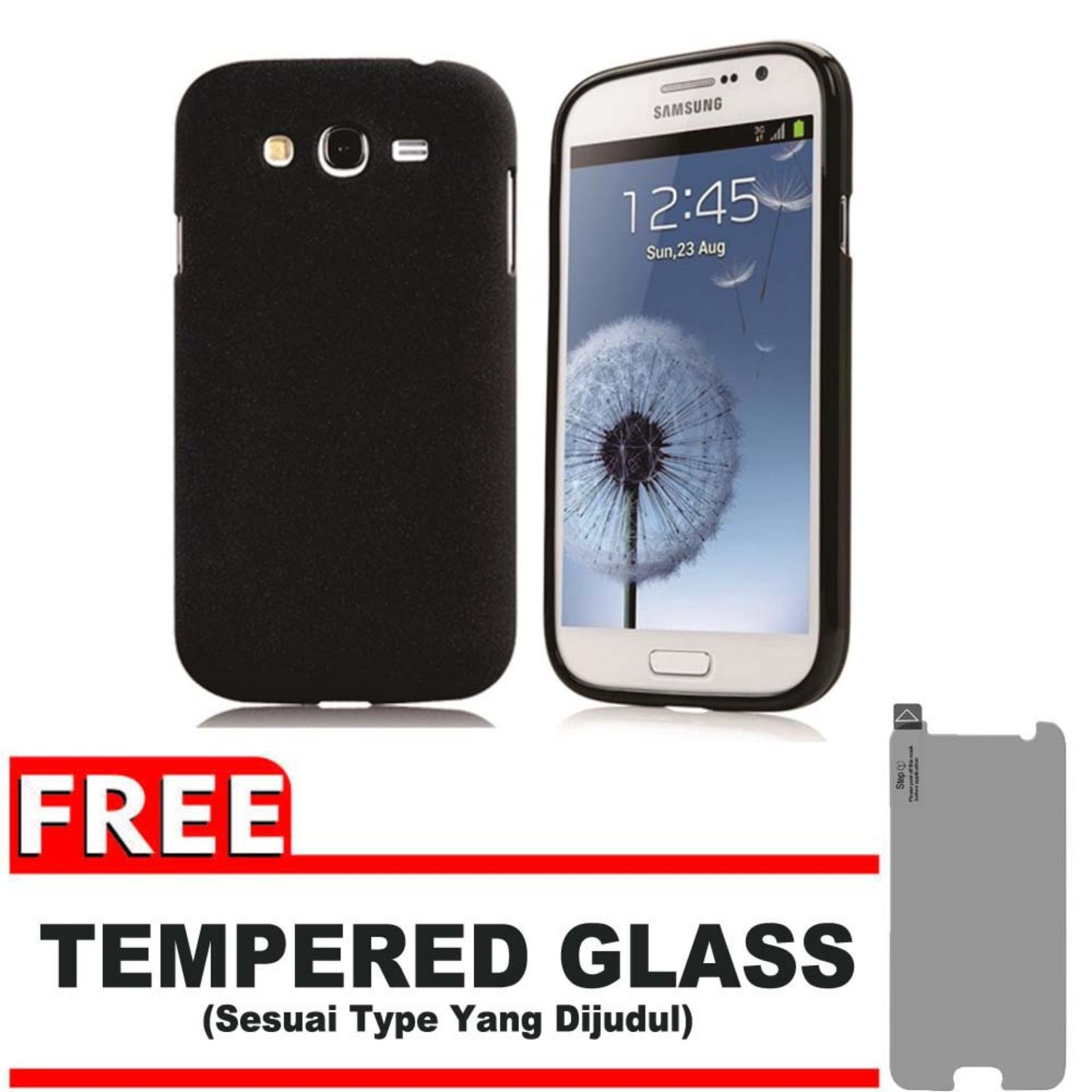 DarkNight for Samsung Galaxy Grand 1 / Neo / Plus / Duos / I9080 / I9082 / I9060 | Slim Case Black Matte Softcase Premium (Anti Minyak/Anti Sidik Jari) + Gratis Free Tempered Glass Protector - Hitam Doff