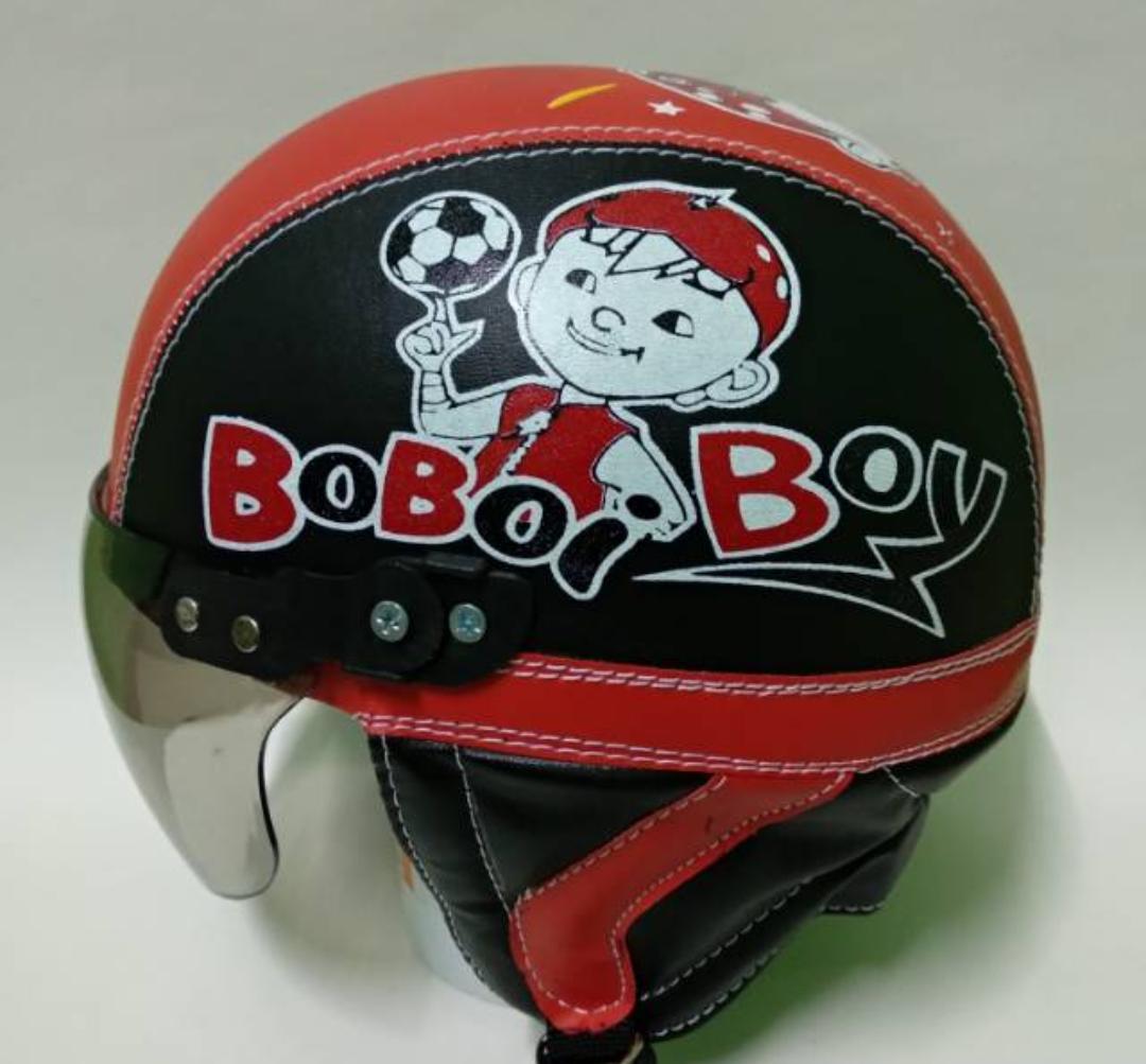 Helm anak retro chips keren karakter Boboiboy usia 1 - 5 Tahun/Hitam Merah