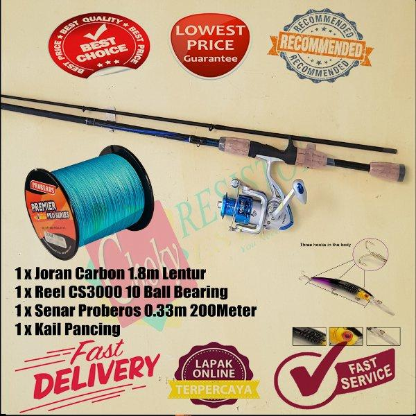 PAKET PANCINGAN KOLAM Joran Fiber Telescopic 2 Segments 1.8M Plus Reel DEBAO CS3000 10 Ball Bearing Plus BENANG proberos Bonus KUAT BEST