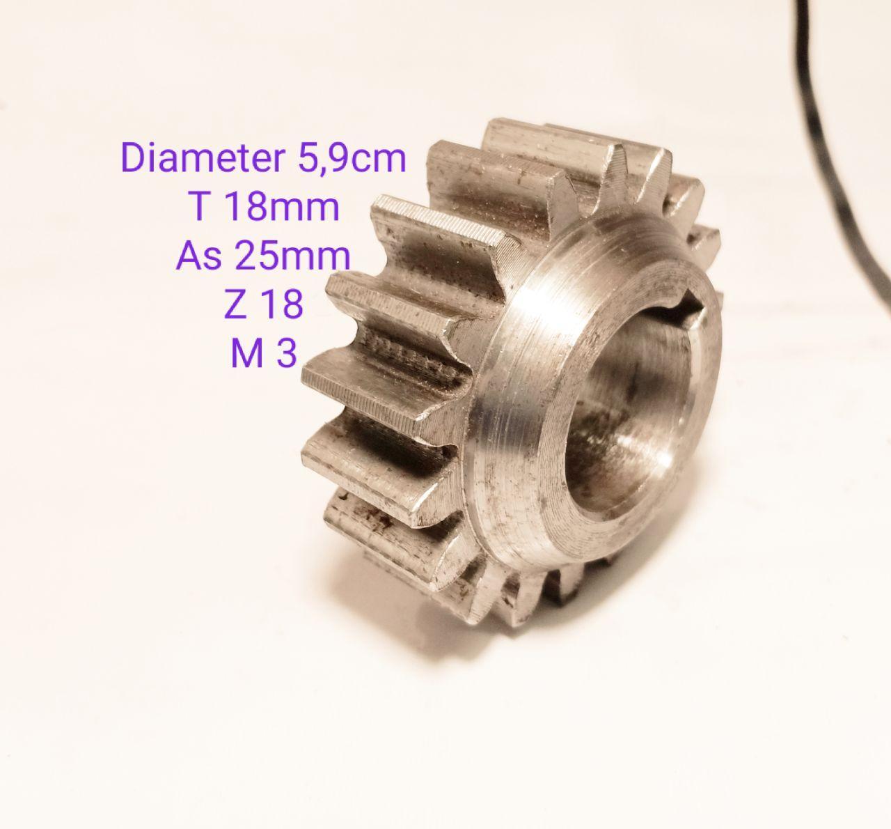GEAR RODA GIGI DIAMETER 5,9 CM T 18MM AS 25MM Z 18