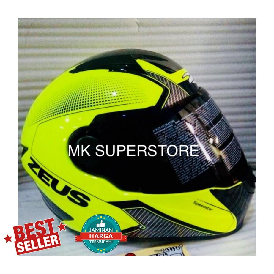 Buy Sell Cheapest Zeus 385 Dark Best Quality Product Deals Helm Zs811 Black Al12 Red Promo 811 Fluo Yellow Al6 With Visor M L Xl