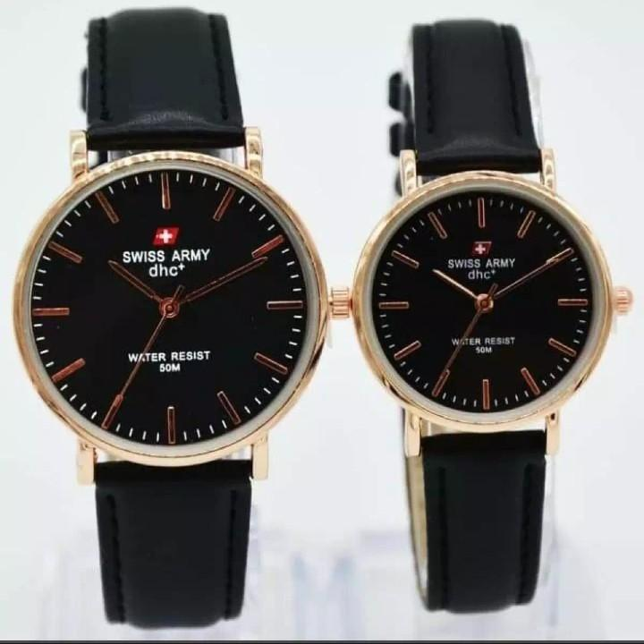 Swiss Army Fashion Trendy Kasual - Jam Tangan Couple/Pasangan  Analog Quartz Rubber Strap Kulit  Model Terbaru