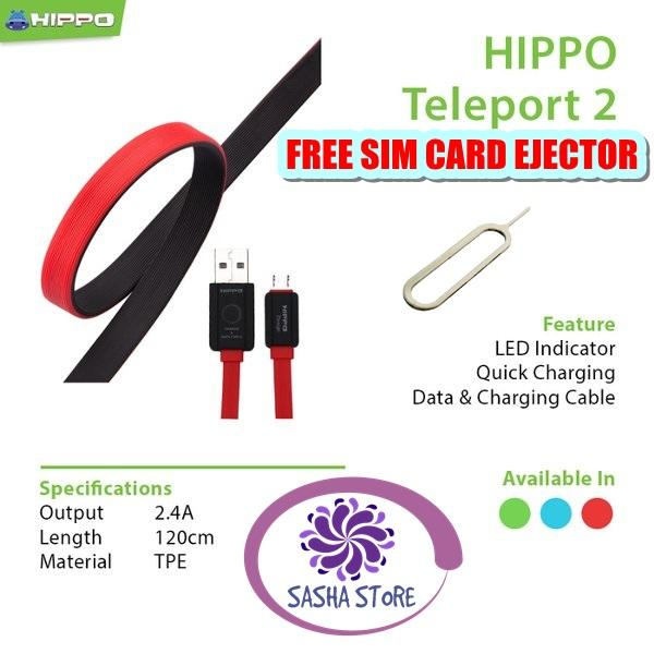 Rp 36.500. SS Paket Kabel Data Charger Hippo Teleport Versi 2 Micro USB Fast Charging 120 Cm Samsung Xiaomi Vivo Asus ...