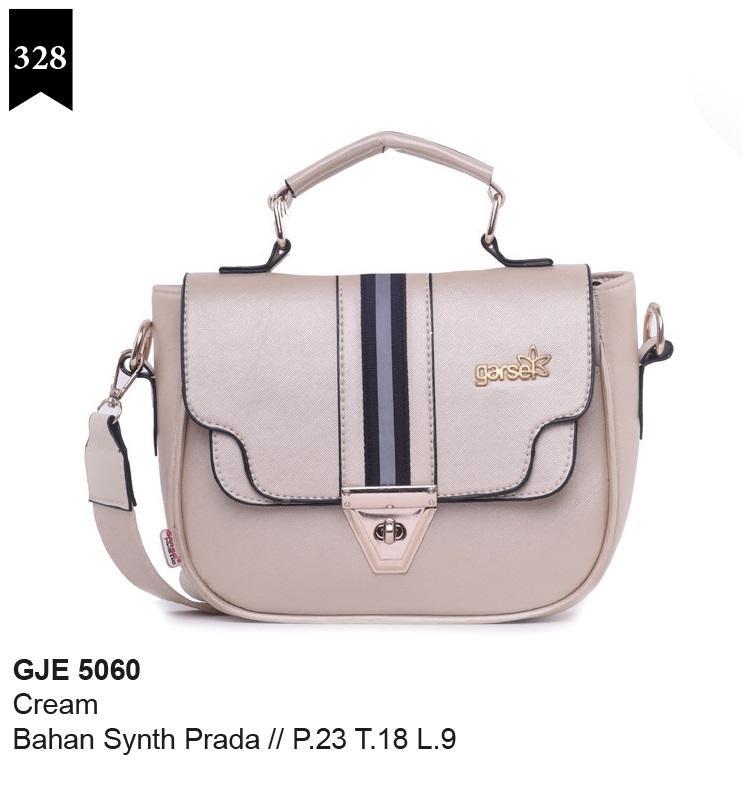 Garsel Fashion Tas Wanita Selempang - bahan sintetis prada - 23x18x9 Murah & berkualitas (Cream) GJE 5060