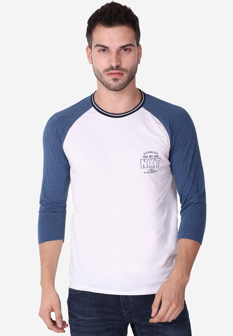 Cressida Next Level White Blue Raglan Tshirt F133 - Putih