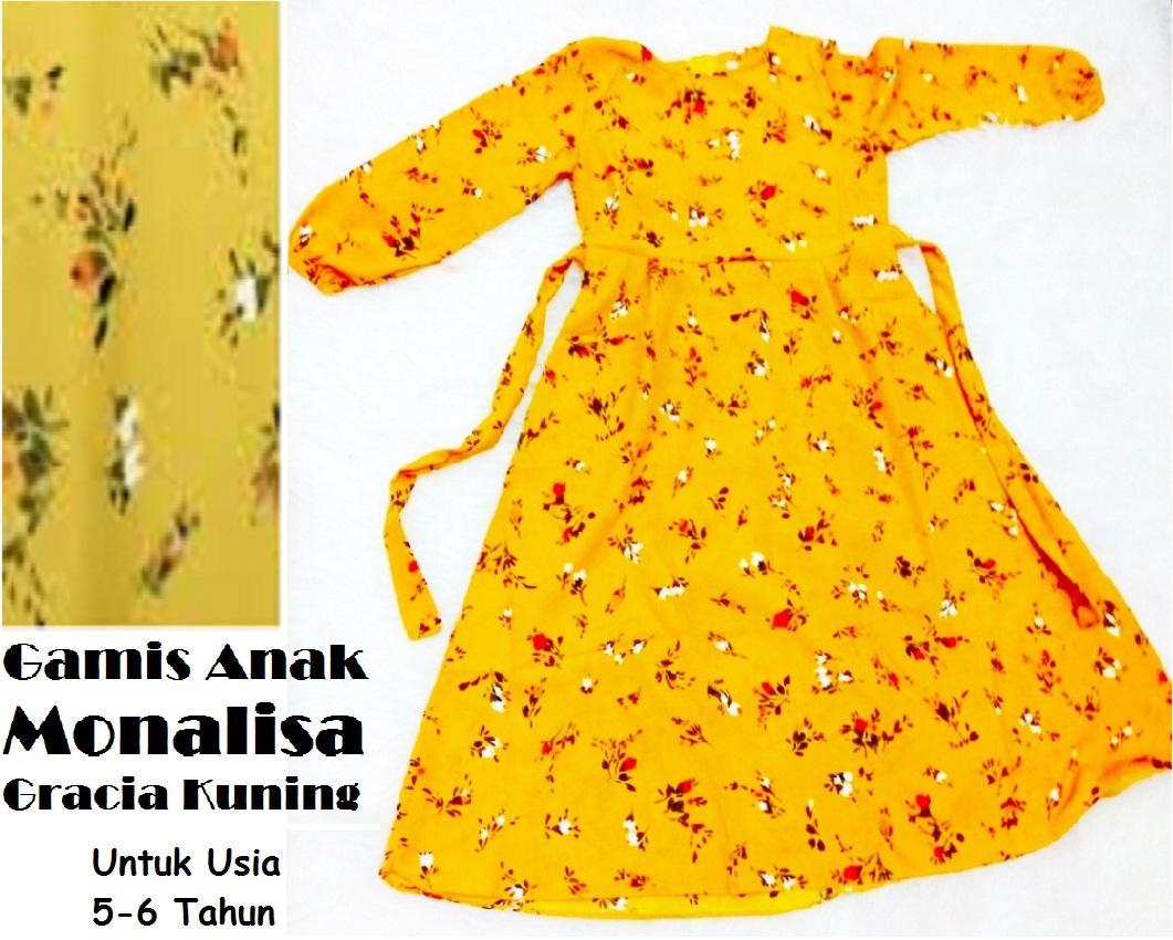 Gamis Anak Monalisa Gracia Kuning Untuk Usia 5 - 6 Tahun