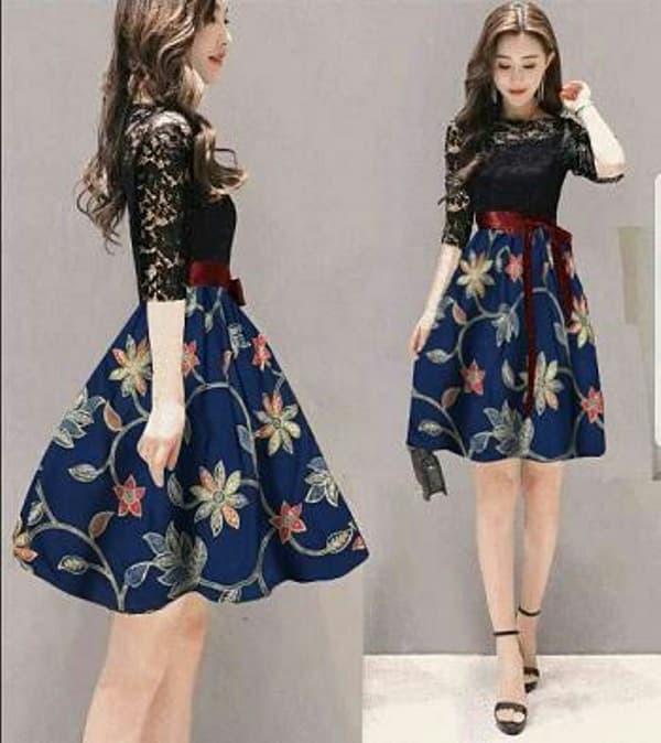 TOSERBU Dress (S - Fit M) LEILY - Brokat Spandek Batik Prad - Navy