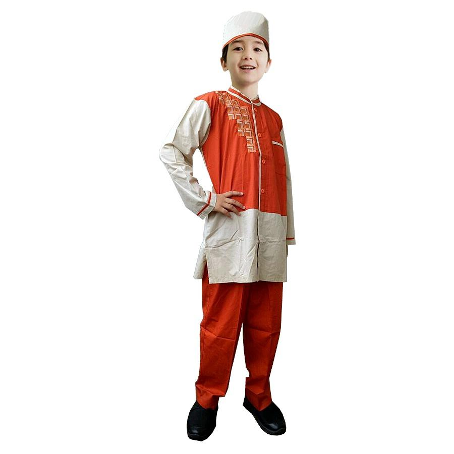 Fayrany FKW-004C Baju Muslim Koko Warna Anak Usia 2 - 14 Tahun - Bata