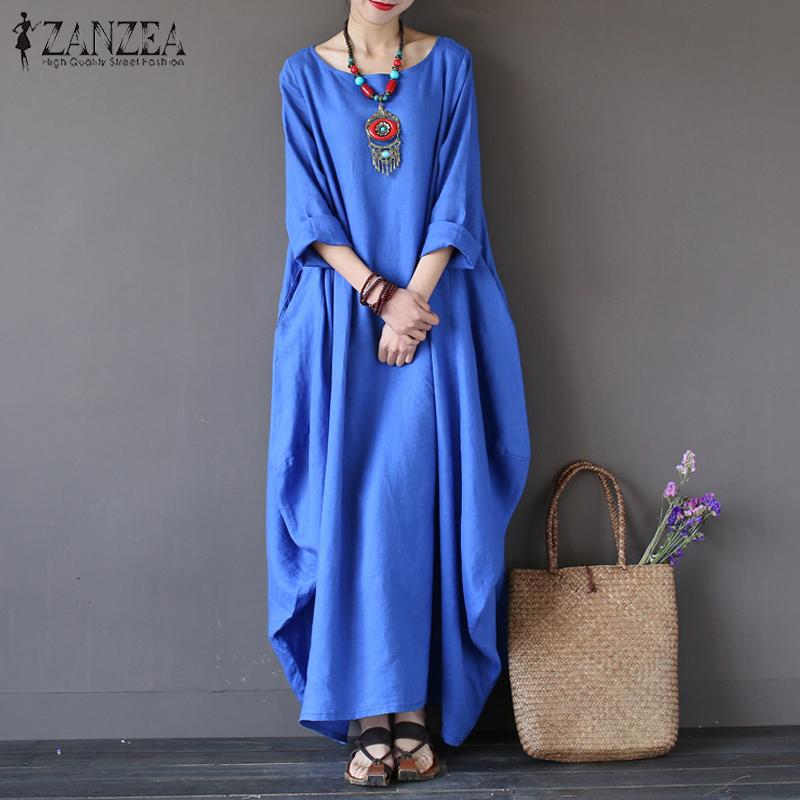 ZANZEA Wanita Crewneck 3/4 Batwing Lengan Baggy Maxi Panjang Baju Kemeja Kasual Partai Kaftan Solid Jubah Vestido Plus Ukuran (biru) -Intl