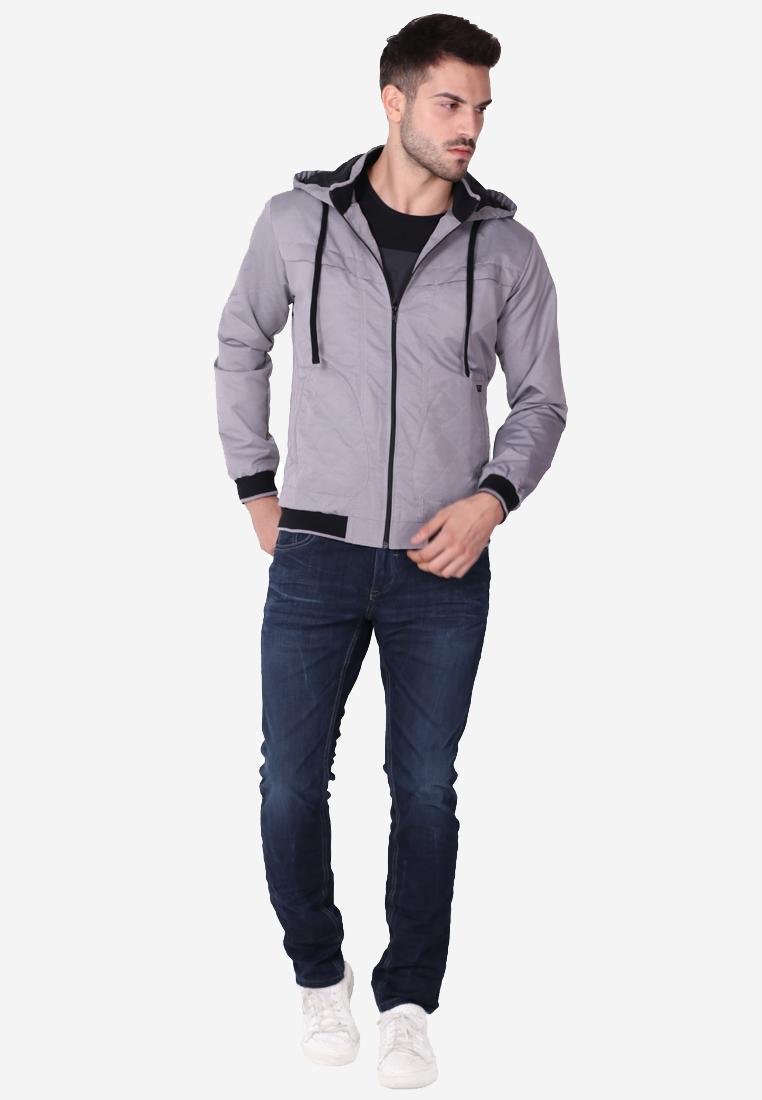 Cressida Next Level Quinting Pocket Jacket Hoodie Pria D221 - Abu abu