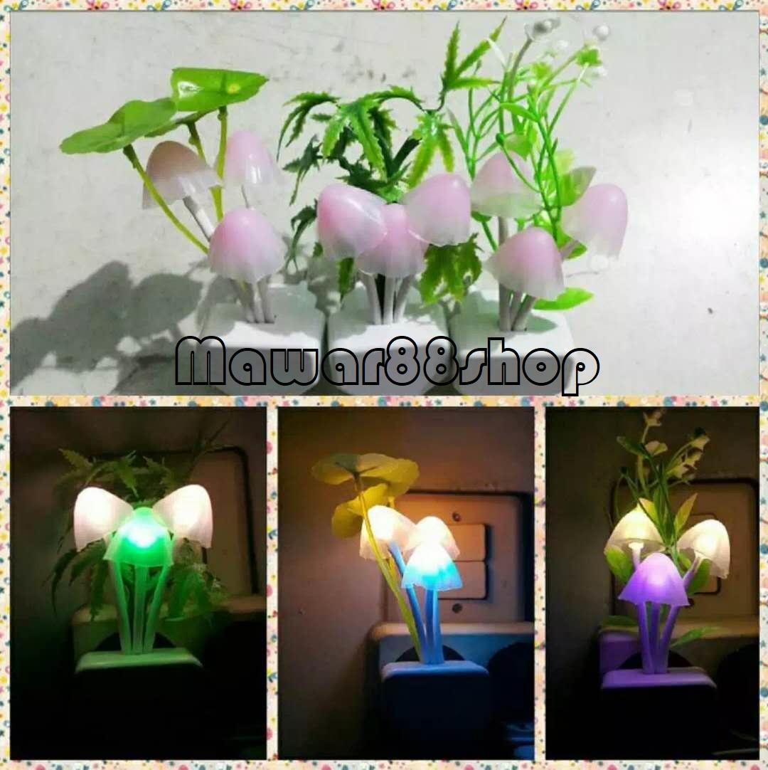 Lampu Tidur Multicolor Lotus LED Sensor Lampu Jamur Avatar+kotak