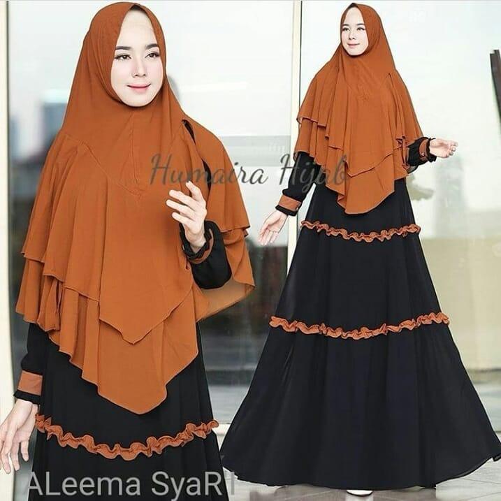 Baju Muslim Original Gamis Aleema Syari Dress Wolfice Baju Panjang Muslim Dress+Khimar Casual Wanita Pakaian Hijab Modern Modis Trendy Terbaru 2018