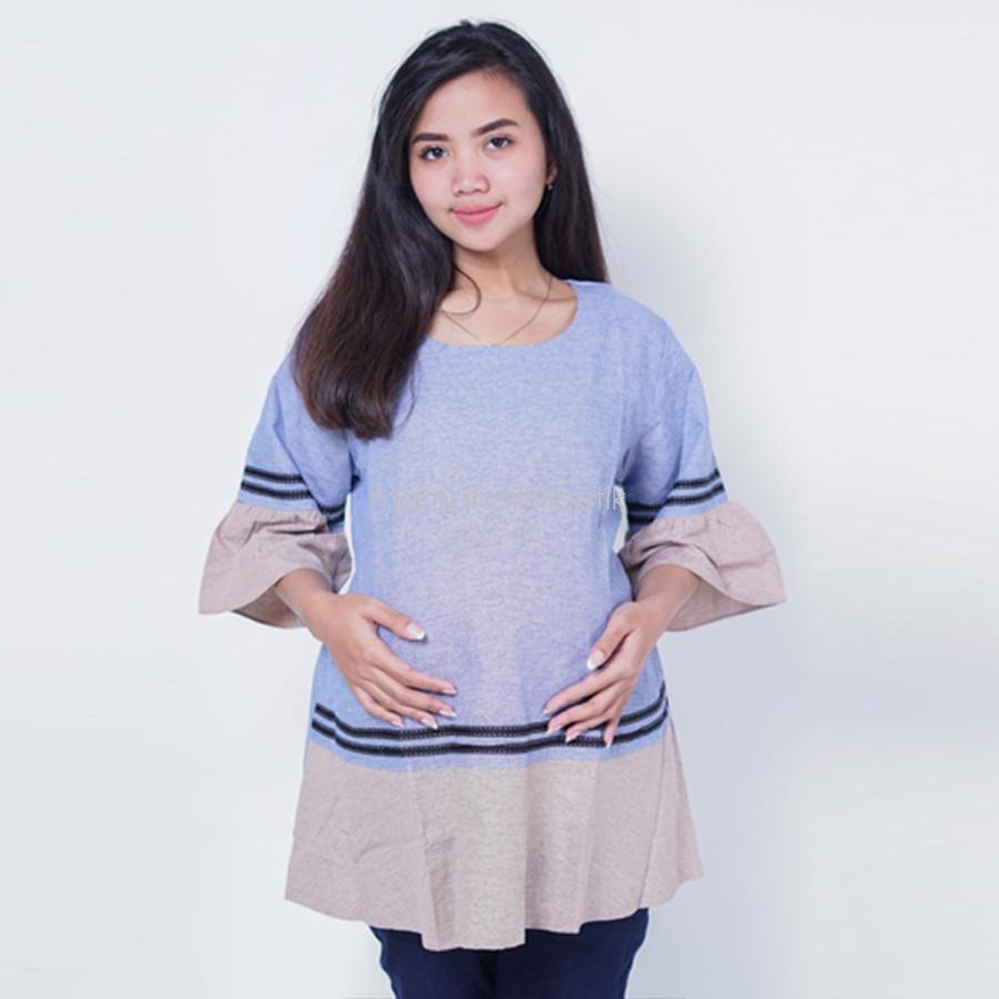 Ning Ayu Atasan Hamil Pita Hitam Blouse - BLD 414 / Baju Hamil dan Menyusui/ Baju Ibu Menyusui / Baju Ibu Menyusui Lengan Panjang / Baju Gamis Ibu Menyusui / Baju Daster Ibu Menyusui / Baju Wanita Menyusui