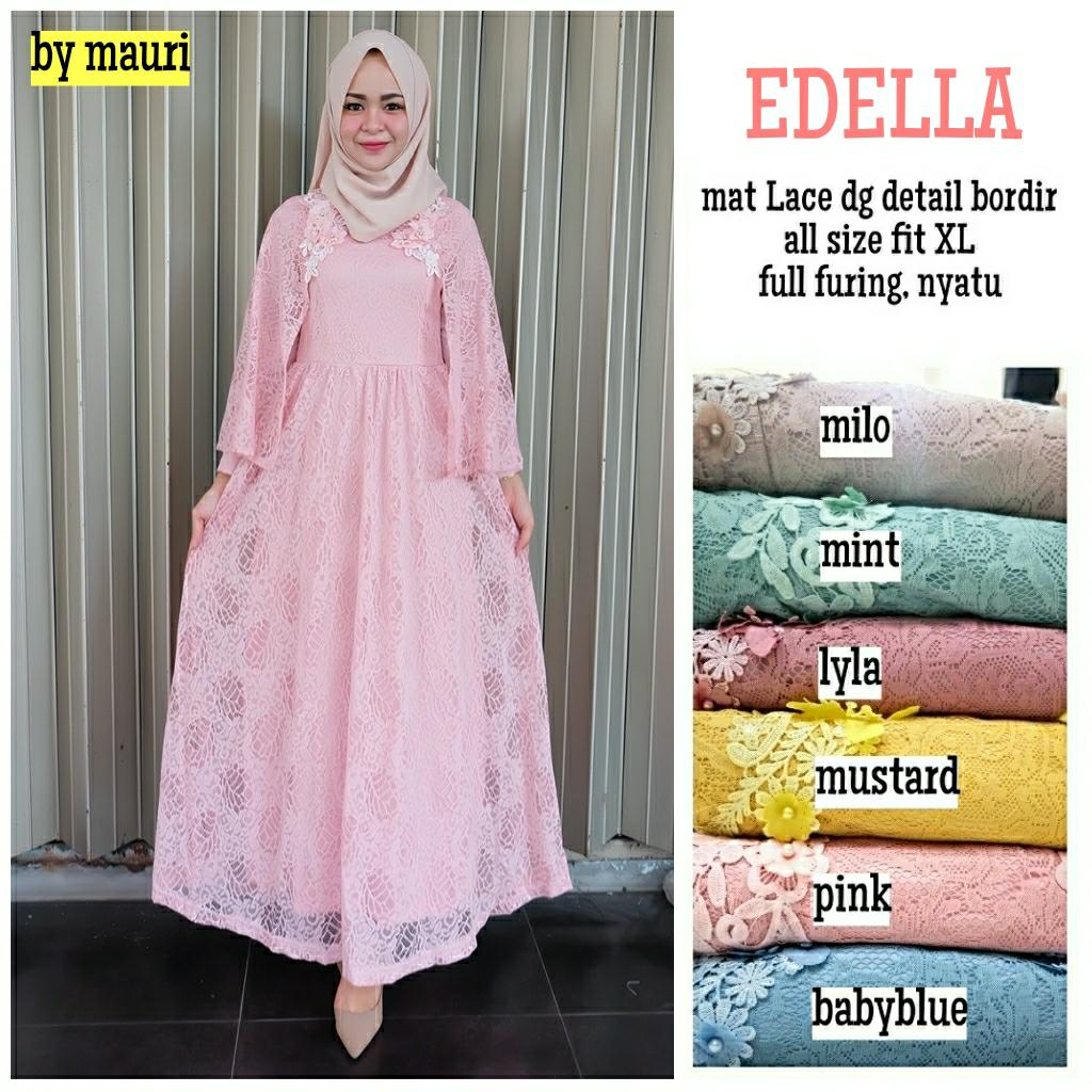 Gamis Long dress maxi wanita muslim brokat lace edella cape gaun pesta