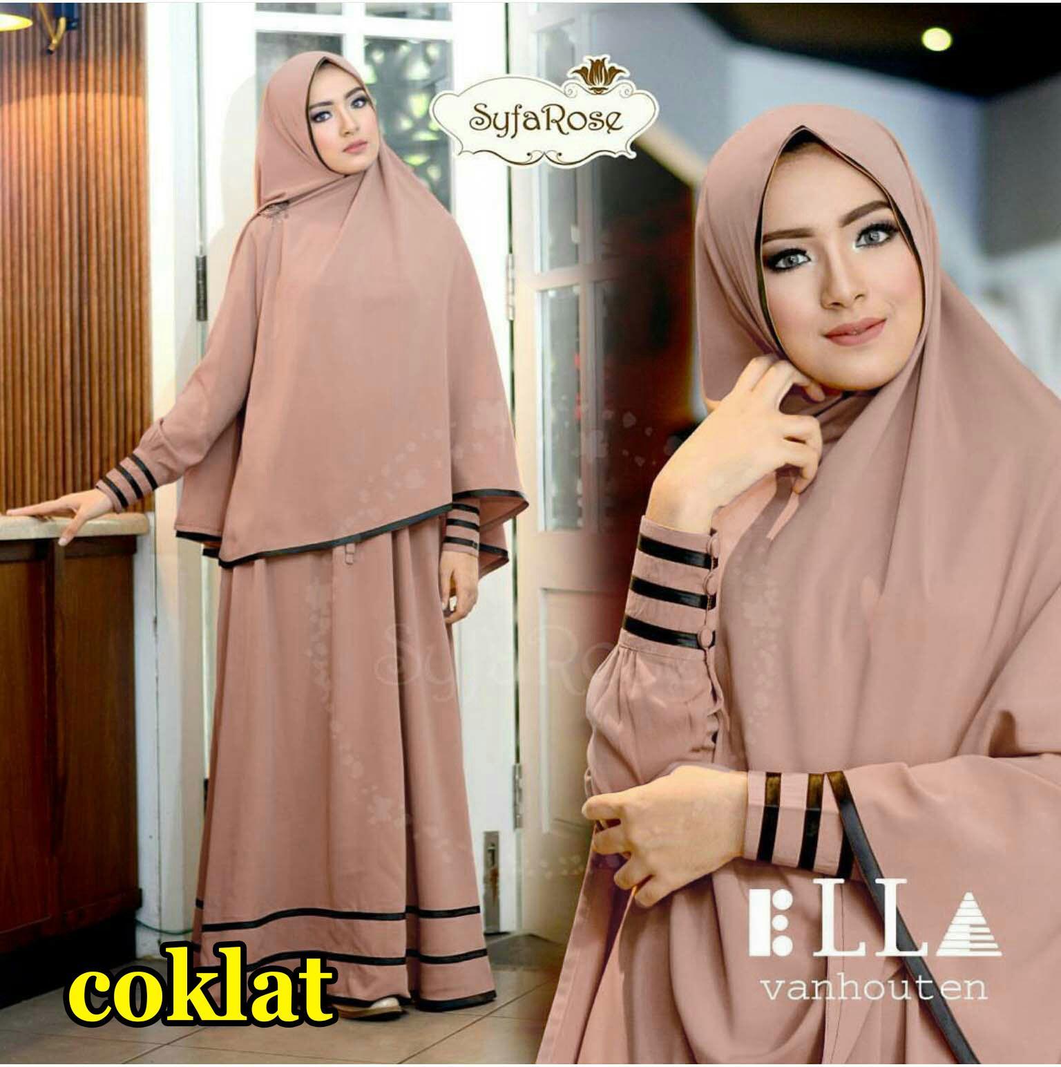 Snowshop Gamis Syari SyfaRose New ( Dapat Jilbab ) - 11 warna Maxi / Busana / Dress / Baju Muslim / Hijab / XL / Pasmina