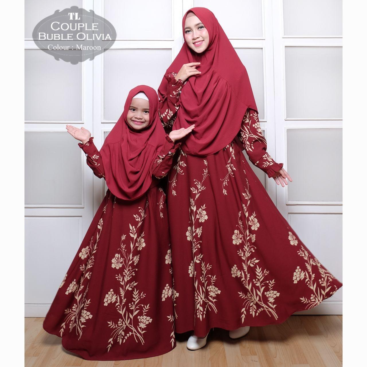 Silentriver88 gamis muslim syari bubble olivia premium ibu dan anak couple