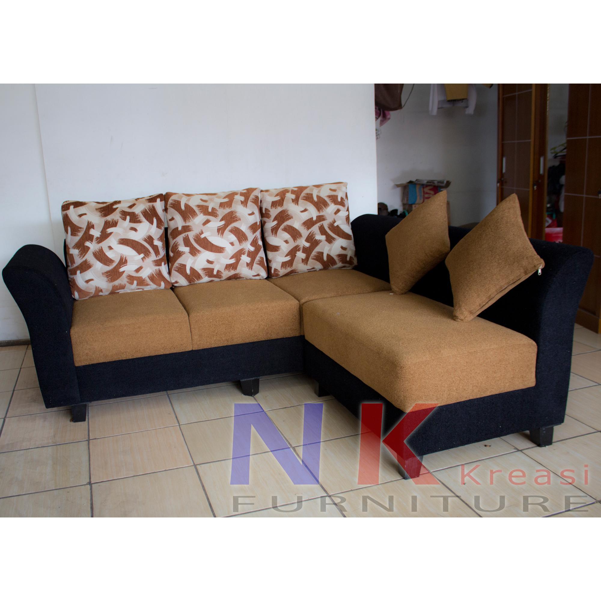 Sofa Kursi Tamu L minimalis, sofa L sudut mewah + MEJA TAMU - JABODETABEK ONLY