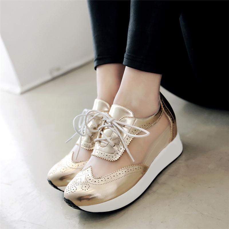 Besar Kecil Sepatu Wanita Sign Sepatu Angsa Emas Sandal Musim Panas Bernapas Jala (Biru Muda)