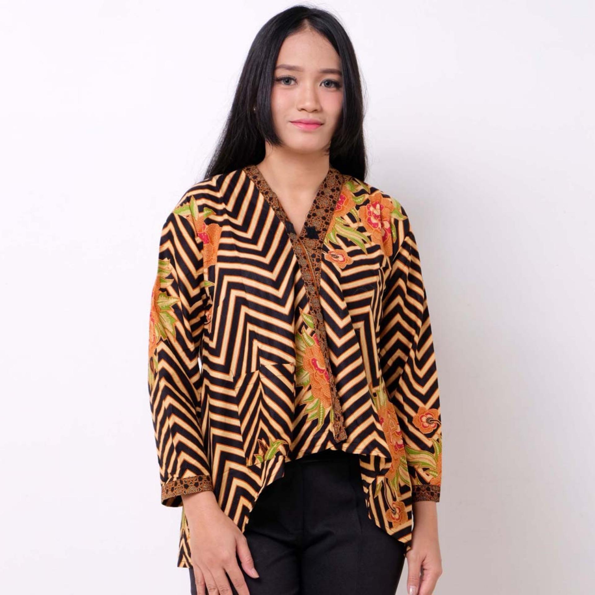 Batik Distro BA9393 Blus Wanita Lurik A Line - Coklat a6cbc31af9
