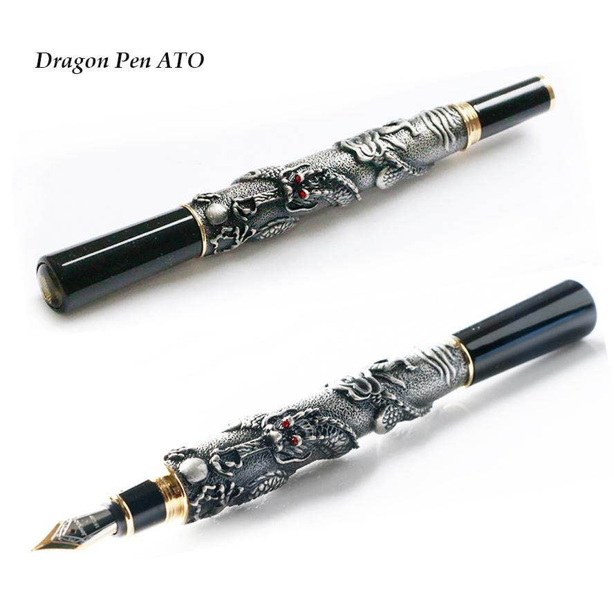 Jinhao Luxury Gray Dragon Kaligrafi Antik Hadiah Fountain Pen