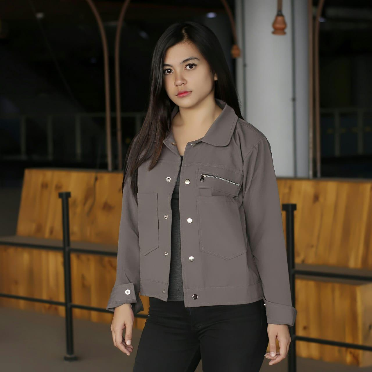 POLAN JAKET - FASHION JAKET WANITA - POCKET ZIPPY 189bfbc500
