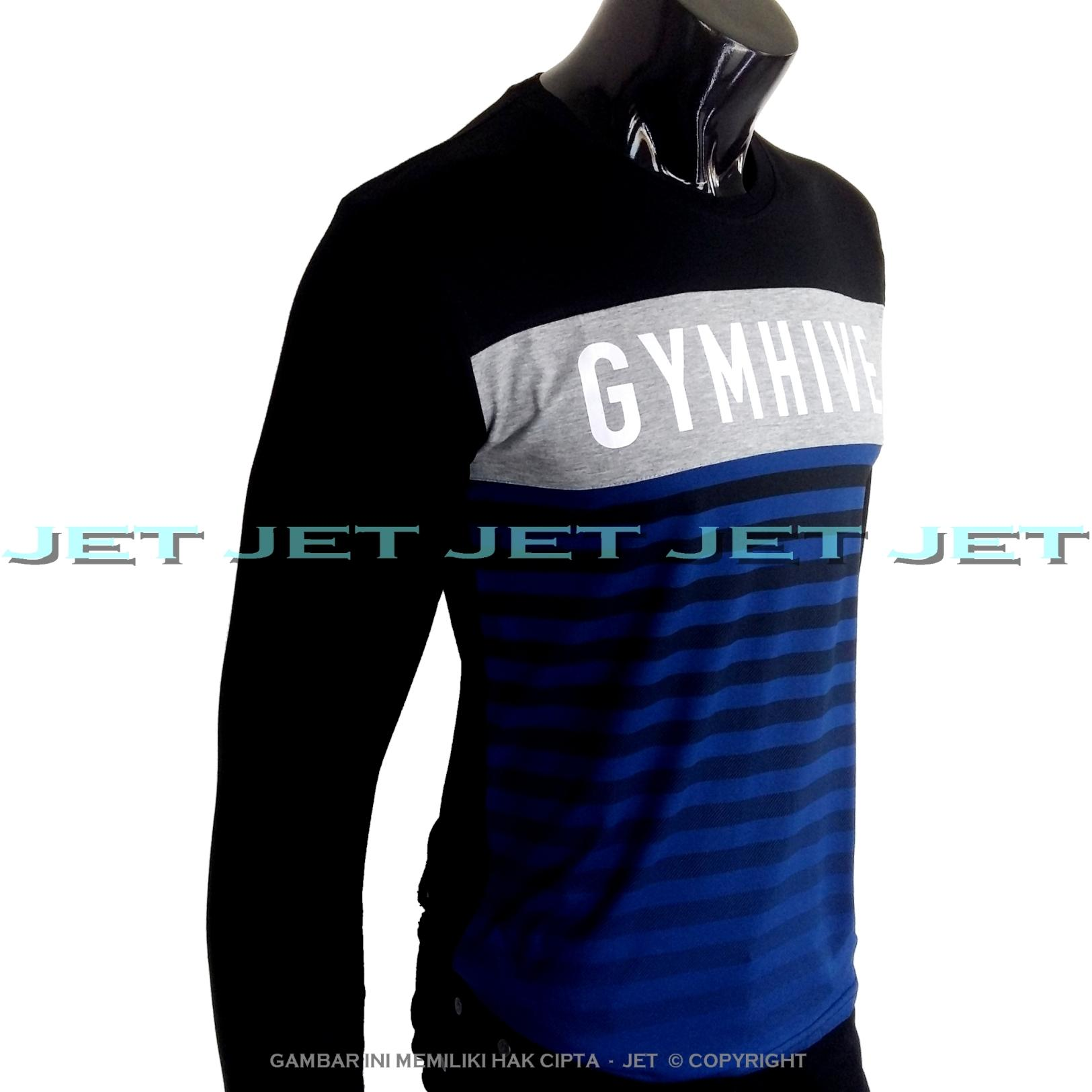 JET - Kaos Distro GYMHIVE Lengan Panjang Soft Rayon Viscose Blended Lycra Size M Fit To L Pria / Wanita Garis Salur Motif Visual Art