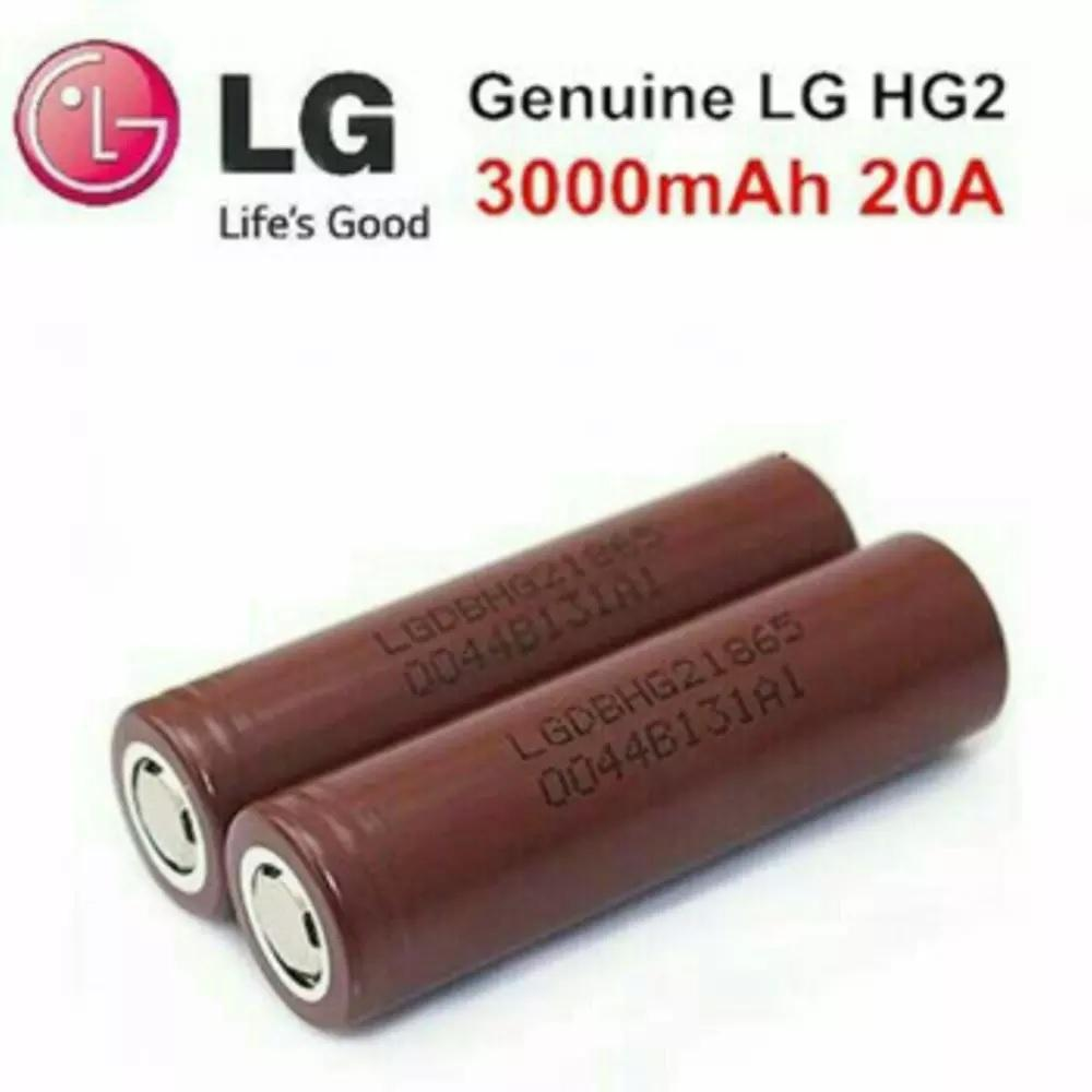 Batre LG Coklat HG 2 18650 3000mAh / Batre Vape LG Coklat Pico,Subox,Vtc,Dagger, - 2 Pcs